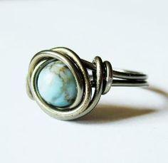 Turquoise And Gunmetal Ring Custom Size   Luulla