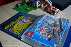 simple storage solution for LEGO instruction manuals - binder with clear plastic pockets Lego Storage, Ikea Storage, Storage Ideas, Small Office Storage, Baby Clothes Storage, Lego Room, Lego Instructions, Lego Sets, Legos