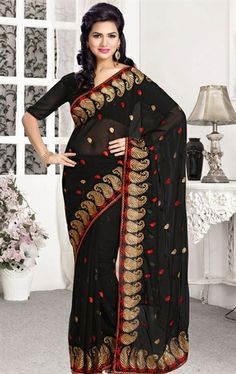 Picture of Appealing Black Color Indian Chiffon Saree Online Shopping