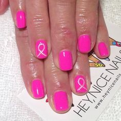 It's Breast Cancer Awareness Month. Show your support with this simple nail art design.