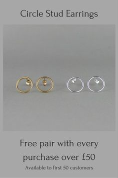 Jewellery promotion. Minimalist jewellery. Gold & Silver Circle Stud Earrings. Free pair of earrings with every purchase over £50. Available to first 50 customers. Handmade jewellery. Modernist jewelry. Black Friday.