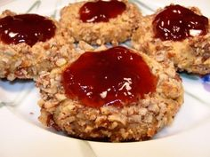 Thumbprint Cookies - my mom made these, but instead of jelly, she used maraschino cherries