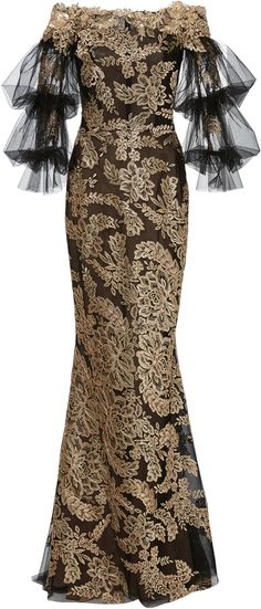 Marchesa Off The Shoulder Metallic Gown