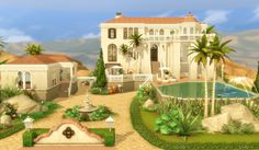 Lana CC Finds — viasims: House 44 - Oasis Springs - The Sims 4 -. The Sims 4 Houses, Sims 3 Houses Ideas, Sims Ideas, Sims 4 House Plans, Sims 4 House Building, Spanish Mansion, Spanish House, The Sims 4 Lots, Sims 4 House Design