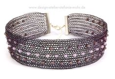 wire crochet CHOKER, mauve coloured with crystals