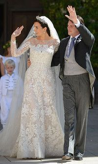 Prince Felix and Princess Claire of Luxembourg's royal wedding: All the photos Bathed in sunlight, Princess Claire was picture-perfect in her stunning wedding gown by Elie Saab. Celebrity Wedding Gowns, Royal Wedding Gowns, Royal Weddings, Wedding Dresses, Elie Saab, Marie Madeleine, Late Summer Weddings, Religious Wedding, Religious Ceremony