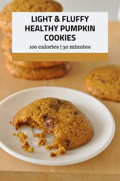 These light and fluffy healthy pumpkin cookies are the perfect fall treat! At just 100 calories per serving, they're a super low calorie healthy cookie and kids love them. Dessert Recipes For Kids, Healthy Dessert Recipes, Fruit Recipes, Pumpkin Recipes, Snack Recipes, Vegetarian Recipes, Healthy Vegetarian Breakfast, Healthy Breakfast For Kids, Healthy Sweet Snacks