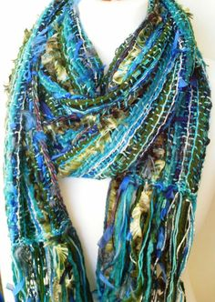 Bohemian Scarf - Hand Woven Scarf - One Of A Kind - Ethnic Scarf - Hippie Scarf - Blues Greens - Ready to Ship - UK Seller