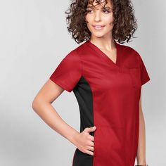The new price-smart option with major stretch and flexibility, try the new and exclusive UA scrubs at Uniform Advantage! Red Scrubs, Uniform Advantage, Medical Scrubs, Shades Of Red, Smooth, Color, Dresses, Style, Fashion
