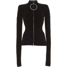 Ribbed Rhinestone Zipper Sweater | Moda Operandi (34.236.025 VND) ❤ liked on Polyvore featuring tops, sweaters, rhinestone tops, rhinestone sweater, zip top, zip sweater and ribbed sweater