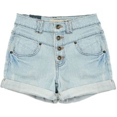 High Waisted Denim Shorts ($20) ❤ liked on Polyvore