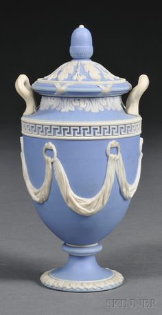 Wedgwood Light Blue Jasper Dip Vase and Cover, England, mid-19th century