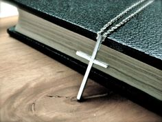 Simple Cross Necklace in sterling silver. Minimal, $48.00