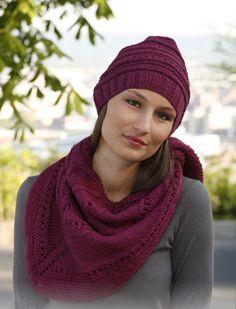 Шаль и шапочка спицами с структурным узором | вязание для женщин