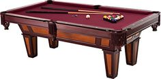 Fat Cat Reno Pool Table with Dark Cherry Finish and Wine Colored Cloth, Accuslate Billiard Surface for Consistent Straight Shots and Sturdy Straight Legs for Stability Pool Tables For Sale, Billiards Game, Billiard Pool Table, Transitional Home Decor, Pool Games, Air Hockey, Cherry Finish, Fat Cats, Catio