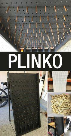 How to Build a Plinko Board – Drinko Plinko Board, Plinko Game, Diy Yard Games, Backyard Games, Outdoor Games, Outdoor Toys, Diy Wedding Yard Games, Wooden Board Games, Wood Games
