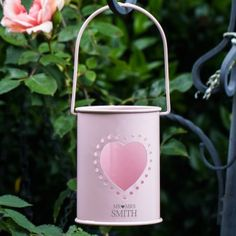 Mr and Mrs Design Personalised Metal Pink Candle Holder