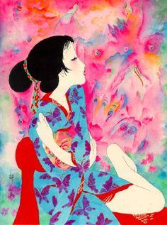 flutter... Butterfly... kimono... Seiichi Hayashi...