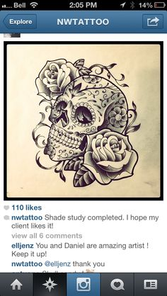 Skull tattoo.. THIS IS WHAT I WANT!!