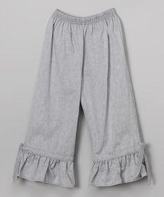 Gray Chambray Capri Ruffle Pants