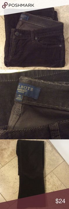 Talbots Signature Bootcut Five Pocket Cords Perfect Cords! Soft, comfortable cords! Five pocket, sits below waist. 98% Cotton, 2% spandex. Measurements laid flat: Waist 16 inches ( sits below waist) hip area 19 inches, inseam is 29.5 inches. See photos. I also have the black, grey, red, caramel colors! Excellent condition. Smoke/pet free environment. Talbots Jeans Boot Cut