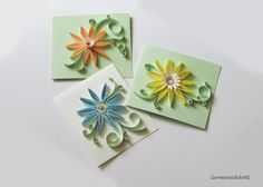 Quilling Pastel Flower Card Set Set of 3 by GermanistikArt on Etsy, $15.00