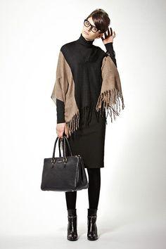 Black turtleneck, black and camel poncho, black pencil skirt, black tights, black ankle boots