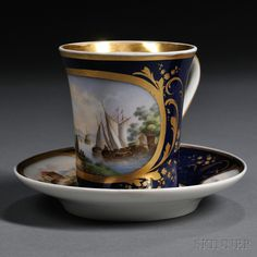 Popov Porcelain Landscape-decorated Cup and Saucer