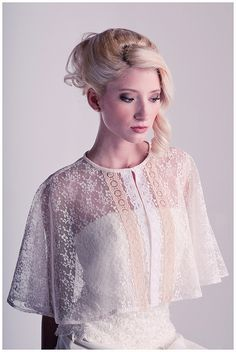 Maybe if bridesmaids wanted capelets :] TruLu Couture vintage lace capelet. Bridal Shrug, Bridal Cape, Wedding Cape, Tweed, Lace Jacket, Vintage Lace, Leather And Lace, Diana, Marie