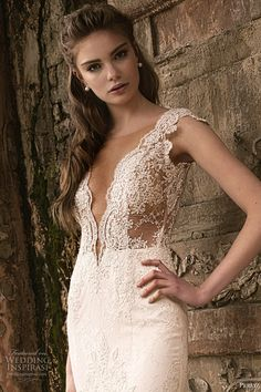 persy 2016 cap sleeves deep v neck fit flare lace wedding dress (02) zv sheer bodice romantic