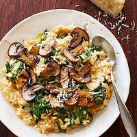 Cheesy Mushroom-Kale Risotto (with Sriracha Chicken Noodle Bowls and Coriander Chicken with Chickpeas and Kale)
