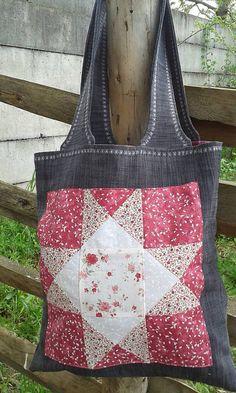 lienka97 / Nákupná taška s patchworkovou aplikáciou 4