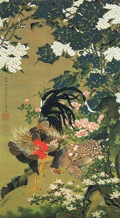 "動植綵絵 第一期(1757-1760), 06. 紫陽花双鶏図 伊藤若冲 , ""Pictures of the Colorful Realm of Living Beings"", 1759 , Jakuchu Ito"