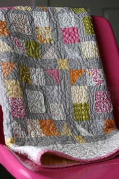 quilt on gray - love the colors