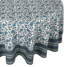 Round Tablecloth cover grey floral Indian 100% cotton 70 inches