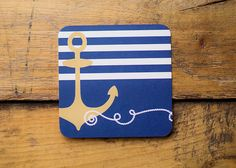Gold Anchor   Set of 10 Nautical Paper by KellyElliottCreative
