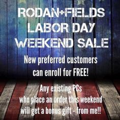 I am now using and selling Rodan+Fields skincare products! Sign on this weekend and you can waive the preferred customer fee. As a preferred customer (PC) you'll receive 10% off and free shipping on every single order you ever make! Message me or go to https://ljoop.myrandf.com/Pages/OurProducts/GetAdvice/SolutionsTool to see which regimen is best for your skin.