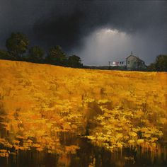 Barry Hilton ~ http://www.originalpaintings.com/barry_hilton.htm ~ Dramatic Skies over Yellow Fields