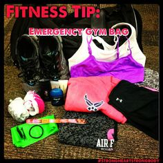 #FITNESSTIP of the day: pack and emergency #gymbag to keep in your car!! I always have a packed gym bag with me, ready to go if I get 60 min or at the end of the day to workout! That way I don't have to go home and change. It's right there for me.   Things I always have:   2x Sports Bras   2x shorts   2x Tanks or Tshirts   2x Socks   Sneakers   bobby pins and hair ties   And toiletries   ..