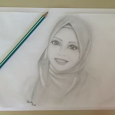 #hijab #portrait #face #eyes #smile #friend #drawing #blackandwhite #pencil