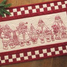 Four Machine Embroidered RedWork Views of Santa Claus Birdbrain designs
