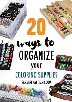 Check out these 20 clever ways to organize your pencils, markers and other coloring supplies or craft room! Includes DIY craft storage ideas, storage units for pencils or markers, and other suggestions you can buy online. Art Supplies Storage, Craft Room Storage, Craft Organization, Storage Ideas, Storage Units, Craft Rooms, Craft Supplies, Organisation Hacks, Clutter Organization