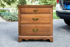 Dated Goodwill Dresser Turned Vintage Inspired Chest Three Drawer Dresser, Wood Dresser, Dresser As Nightstand, Vintage Nightstand, Vintage Chest, Vintage Furniture, Buy Used Furniture, Furniture Projects, Diy Furniture