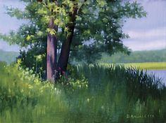 June 3 2016 By the Mohawk River by Deborah Angilletta Oil ~ 9 x 12