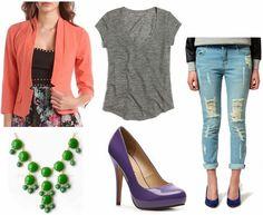 Coral blazer, green statement necklace, purple pumps