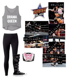 """🌺Delilah🌺 Lilah & AJ Lee fight at Summerslam 2013 for the Divas Championship (WWE)"" by rroyalserena on Polyvore featuring Jockey, Converse, WWE, ajlee, summerslam, delilahmichaels and lilahmichaels"