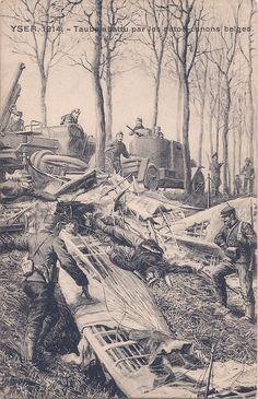 "WW1Postcard. Yser, Belgium, 1914. A crashed 'Taube"" and Belgium armored cars."