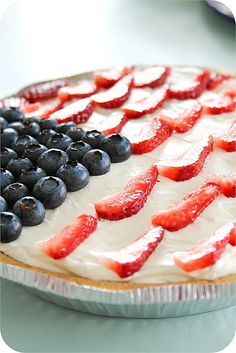 Red white and blue cheesecake. Double recipe and use a 9X13 pan for a true flag look.
