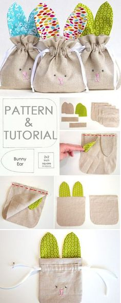 How to Sew simple Drawstring Bunny Bag. Tutorial & Pattern http://www.free-tutorial.net/2017/05/drawstring-bunny-bag-tutorial.html #Sewingtutorials
