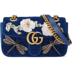 Gucci Gg Marmont Embroidered Velvet Mini Bag (£2,420) ❤ liked on Polyvore featuring bags, handbags, borse, clutches, gucci, cobalt blue, shoulder bags, women, blue shoulder bag and hand bags